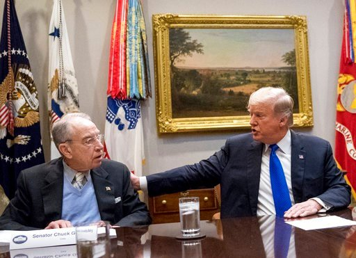 (AP Photo/Andrew Harnik). FILE - In this Jan. 4, 2018, President Donald Trump, accompanied by Sen. Chuck Grassley, R-Iowa, left, speaks at a meeting in the Roosevelt Room at the White House in Washington. Republicans who spent the early months of 2017 ...