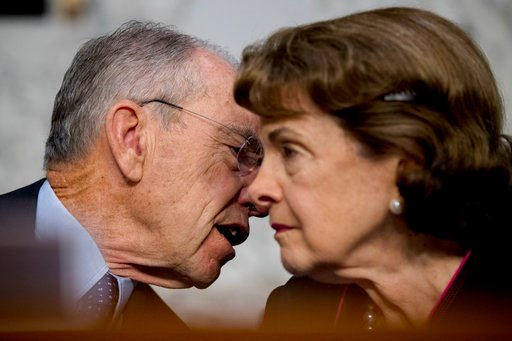 (AP Photo/Andrew Harnik). FILE - In this Oct. 3, 2017, file photo, Chairman Sen. Chuck Grassley, R-Iowa, and Ranking Member Sen. Dianne Feinstein, D-Calif., right, speak during a hearing on Capitol Hill in Washington. Republicans who spent the early mo...