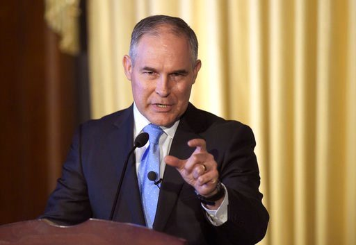 (AP Photo/Susan Walsh, File). FILE - In this Feb. 21, 2017, file photo, Environmental Protection Agency (EPA) Administrator Scott Pruitt speaks to employees of the EPA in Washington. Federal scientists have determined that a family of widely used pesti...