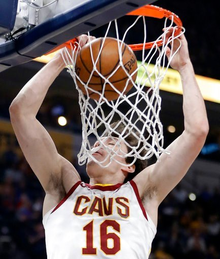 (AP Photo/Darron Cummings). Cleveland Cavaliers' Cedi Osman dunks during the first half of an NBA basketball game against the Indiana Pacers, Friday, Jan. 12, 2018, in Indianapolis.