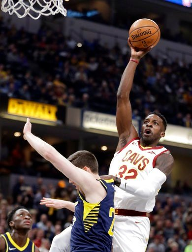 (AP Photo/Darron Cummings). Cleveland Cavaliers' Jeff Green (32) shoots over Indiana Pacers' T.J. Leaf during the first half of an NBA basketball game, Friday, Jan. 12, 2018, in Indianapolis.