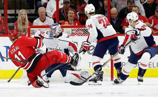 (AP Photo/Gerry Broome). Carolina Hurricanes' Jordan Staal (11) scores against Washington Capitals goalie Philipp Grubauer (31), of Germany, during the first period of an NHL hockey game in Raleigh, N.C., Friday, Jan. 12, 2018. Capitals' John Carlson (...