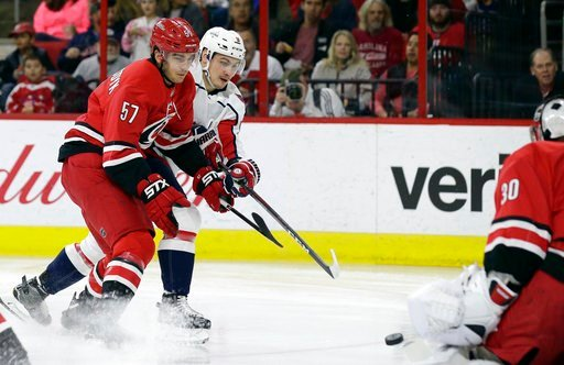 (AP Photo/Gerry Broome). Washington Capitals' Dmitry Orlov, of Russia, shoots against Carolina Hurricanes goalie Cam Ward as Hurricanes' Trevor van Riemsdyk (57) defends during the first period of an NHL hockey game in Raleigh, N.C., Friday, Jan. 12, 2...