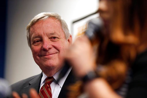 (AP Photo/Kiichiro Sato). Sen. Dick Durbin, D-Ill., is introduced as he speaks to students of Year Up Chicago, a one-year long job training program that provides low-income young adults, Friday, Jan. 12, 2018, in Chicago. The senator present at a White...