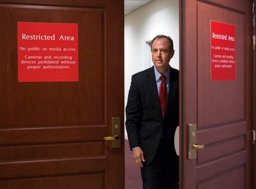 (AP Photo/J. Scott Applewhite, File). FILE - In this July 11, 2017, file photo, Rep. Adam Schiff, D-Calif., the ranking member of the House Intelligence Committee, arrives to speak to reporters on Capitol Hill in Washington. Republicans who spent the e...