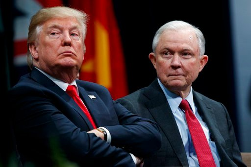 (AP Photo/Evan Vucci, File). FILE - In this Dec. 15, 2017, file photo, President Donald Trump sits with Attorney General Jeff Sessions during the FBI National Academy graduation ceremony in Quantico, Va. Late last year, lawyers for Trump expressed opti...