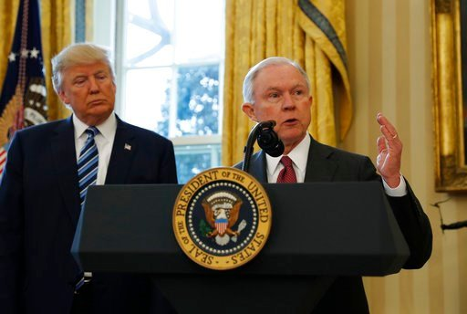 (AP Photo/Pablo Martinez Monsivais, File). FILE - In this Feb. 9, 2017, file photo, President Donald Trump listens as Attorney General Jeff Sessions speaks in the Oval Office of the White House in Washington, after Vice President Mike Pence administere...