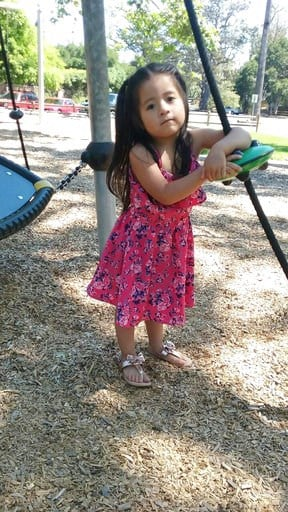 (Jennifer Ramos Tapia via AP). CORRECTS NAME TO KAELLY RAMOS BENITEZ- This June 2017 photo provided by Jennifer Ramos Tapia shows, Kaelly Benitez 3, outside her family's home in Montecito, Calif. She and her mother, Marilyn Ramos, were among those kill...