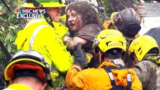 (NBC News via AP). This frame from video provided by NBC News shows the rescue of a 14-year-old girl from the wreckage of a home after heavy rains trapped dozens of people in Montecito, Calif., Tuesday, Jan. 9, 2018. The girl's name was not immediately...