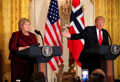 (AP Photo/Manuel Balce Ceneta, File). FILE - In this Wednesday, Jan. 10, 2018 file photo, US President Donald Trump speaks during a joint news conference with Norwegian Prime Minister Erna Solberg in the East Room of the White House in Washington.  Afr...
