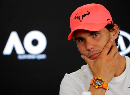 (AP Photo/Vincent Thian). Spain's Rafael Nadal answers questions during a press conference at the Australian Open tennis championships in Melbourne, Australia, Saturday, Jan. 13, 2018.