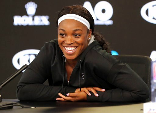 (AP Photo/Dita Alangkara). United States' Sloane Stephens smiles during a press conference at the Australian Open tennis championships in Melbourne, Australia, Saturday, Jan. 13, 2018.