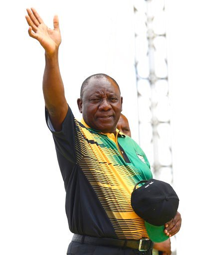 (AP Photo). Newly-elected ruling African National Congress (ANC) party president Cyril Ramaphosa greets supporters attending the party's 106th birthday celebrations in East London, South Africa, Saturday, Jan. 13, 2018. Ramaphosa is to address supporte...