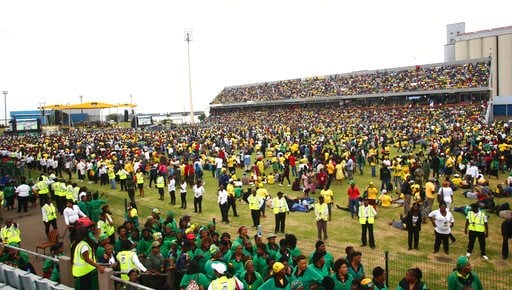 (AP Photo). Ruling African National Congress (ANC) party supporters attend the party's 106th birthday celebrations in East London, South Africa, Saturday, Jan. 13, 2018. Newly elected ANC President Cyril Ramaphosa is to address supporters for the first...