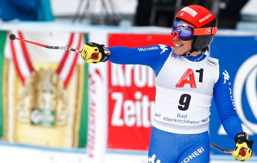 (AP Photo/Giovanni Auletta). Italy's Federica Brignone reacts after completing an alpine ski, women's World Cup super-G, in Bad Kleinkirchheim, Austria, Saturday, Jan. 13, 2018.