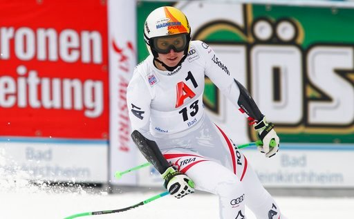 (AP Photo/Giovanni Auletta). Austria's Cornelia Huetter reacts after completing an alpine ski, women's World Cup super-G, in Bad Kleinkirchheim, Austria, Saturday, Jan. 13, 2018.