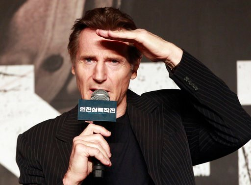 "(AP Photo/Ahn Young-joon, File). FILE - In this Wednesday, July 13, 2016 file photo, Irish actor Liam Neeson speaks during a press conference to promote his new film ""Operation Chromite"" in Seoul, South Korea. Actor Liam Neeson says that the Hollywood ..."