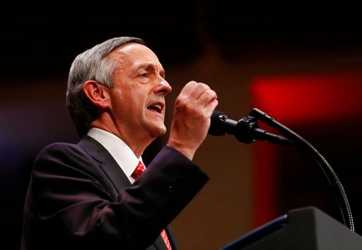(AP Photo/Carolyn Kaster, File). FILE - In this July 1, 2017, file photo, Pastor Robert Jeffress of the First Baptist Dallas Church Choir speaks as he introduces President Donald Trump during the Celebrate Freedom event at the Kennedy Center for the Pe...