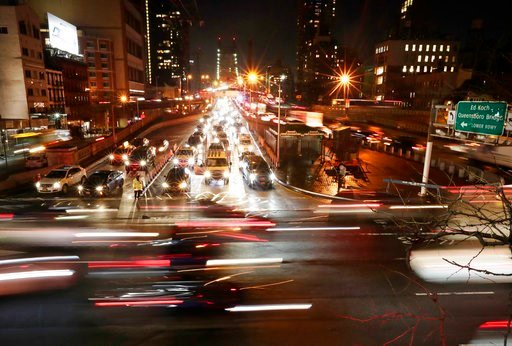 "(AP Photo/Frank Franklin II). In this Jan. 11, 2018 photo, cars pass the Queensboro Bridge in New York. ""Congestion pricing,"" a proposal to thin New York City's bad traffic by making part of Manhattan a toll zone is gaining momentum after years of poli..."