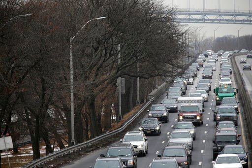 (AP Photo/Seth Wenig). In this Jan, 11, 2018 photo, traffic moves slowly toward downtown Manhattan on the West Side Highway in New York. A proposal to make part of Manhattan a toll zone, where drivers would be charged to drive into the most congested n...