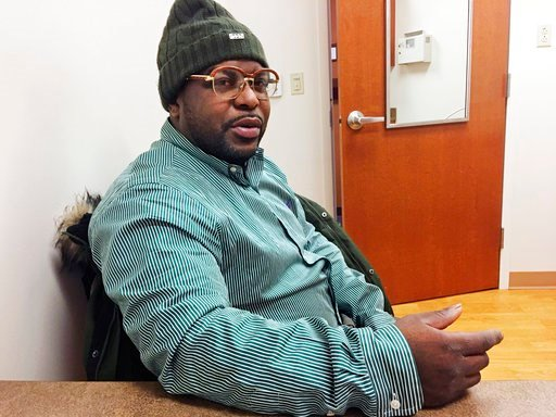 (AP Photo/Gretchen Ehlke). Medicaid recipient Thomas J. Penister, of Milwaukee, responds to a question during an interview Friday, Jan. 12, 2018, in Milwaukee. Penister does not favor a work requirement in order to receive Medicaid because of the varyi...