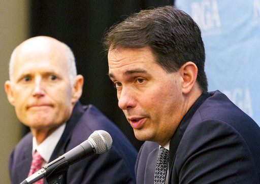 (Ana Ramirez/Austin American-Statesman via AP, File). FILE - In this Nov. 15, 2017, file photo, Wisconsin Gov. Scott Walker answers questions during the Republican Governors Association's Annual Conference in Austin, Texas. The Trump administration's d...