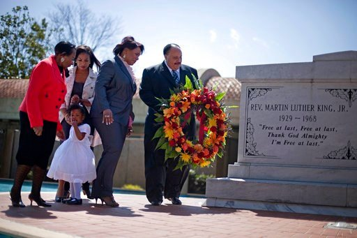 (AP Photo/David Goldman, File). FILE- In this April 4, 2011 file photo, Martin Luther King III, right, the son of Rev. Martin Luther King Jr., lays a wreath at the crypt of his father along with from right, Rev. King's daughter, Rev. Bernice King, gran...