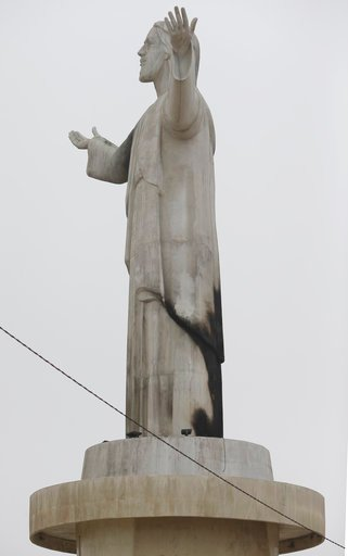 (AP Photo/Martin Mejia). The Cristo del Pacifico (Christ of the Pacific) statue overlooks the seafront in Lima, Peru, on Saturday, Jan. 13, 2018. The replica of the Christ the Redeemer Statue in Rio de Janeiro was set on fire days before Pope Francis i...