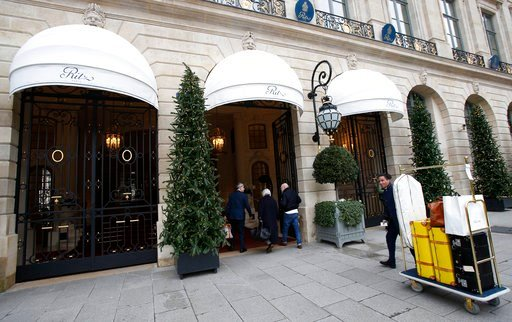 (AP Photo/Michel Euler). People enter the Ritz hotel in Paris, Thursday, Jan. 11, 2018. Paris police have recovered some jewels stolen from the Ritz Hotel in a multimillion-euro robbery attempt, but are still searching Thursday for two thieves and the ...