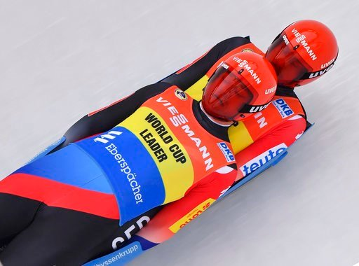 (Martin Schutt/dpa via AP). Germany's Toni Eggert, and Sascha Benecken compete during the men's doubles race at the Luge World Cup in Oberhof, Germany, Saturday, Jan. 13, 2018.