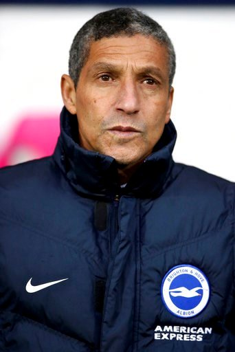 (Nick Potts/PA via AP). Brighton & Hove Albion manager Chris Hughton before the English Premier League soccer match against West Bromwich Albion at The Hawthorns, West Bromwich, England, Saturday Jan. 13, 2018.