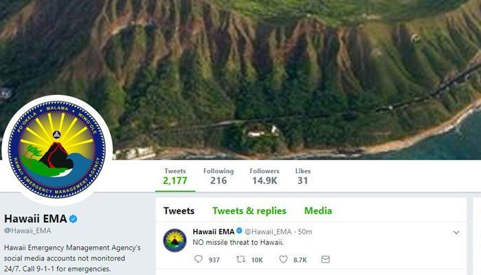 Ballistic missile threat alert in Hawaii is called a false alarm. (Source: Twitter)
