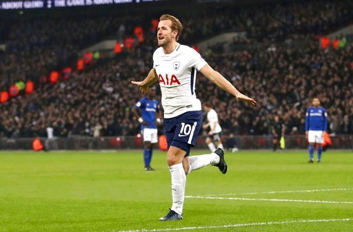 (John Walton/PA via AP). Tottenham Hotspur's Harry Kane celebrates scoring his side's third goal of the game during the English Premier League soccer match Tottenham Hotspur versus Everton at Wembley Stadium, London, Saturday Jan. 13, 2018.