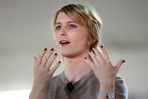 (AP Photo/Steven Senne). RETRANSMISSION TO CORRECT RANK TO INTELLIGENCE ANALYST - FILE - In this Sunday, Sept. 17, 2017 file photo, Chelsea Manning speaks during the Nantucket Project's annual gathering in Nantucket, Mass. On Thursday, Jan. 11, 2018, M...