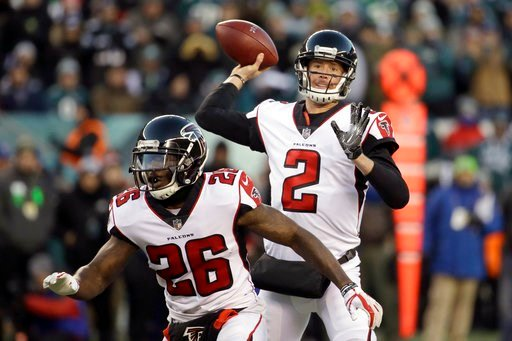 (AP Photo/Matt Rourke). Atlanta Falcons' Matt Ryan passes during the first half of an NFL divisional playoff football game against the Philadelphia Eagles, Saturday, Jan. 13, 2018, in Philadelphia.