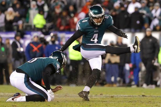 (AP Photo/Michael Perez). Philadelphia Eagles' Jake Elliott, right, kicks a field goal as Donnie Jones holds during the first half of an NFL divisional playoff football game against the Atlanta Falcons, Saturday, Jan. 13, 2018, in Philadelphia.