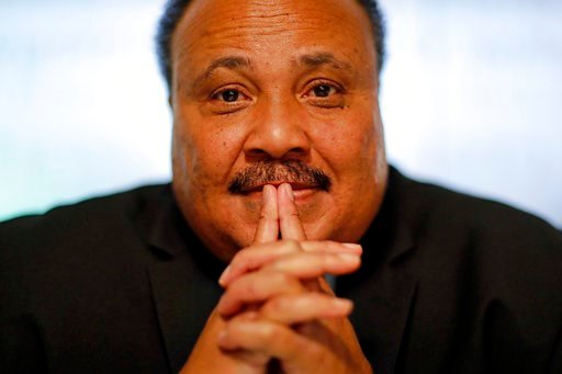 "(AP Photo/David Goldman). Martin Luther King III, the son of Rev. Martin Luther King Jr., is photographed in Atlanta, Thursday, Jan. 11, 2018. ""I would like to believe that the president's intentions are not to be divisive, but much of what he says see..."