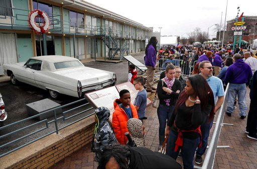 (AP Photo/Mark Humphrey, File). FILE - In this Monday, Jan. 16, 2017, file photo, people wait in line to enter the National Civil Rights Museum on Martin Luther King Jr. Day in Memphis, Tenn. The site is among about 130 locations in 14 states being pro...