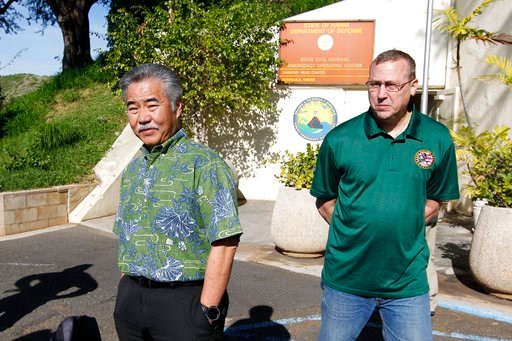 (George F. Lee  /The Star-Advertiser via AP). Hawaii Gov. David Ige and Maj. Gen. Joe Logan were on hand for a press conference at Civil Defense at Diamond Head Saturday, Jan. 13, 2018, following the false alarm issued of a missile launch on Hawaii. A ...