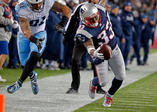 (AP Photo/Steven Senne). New England Patriots running back Dion Lewis (33) tiptoes along the sideline as Tennessee Titans linebacker Derrick Morgan (91) pursues during the second half of an NFL divisional playoff football game, Saturday, Jan. 13, 2018,...
