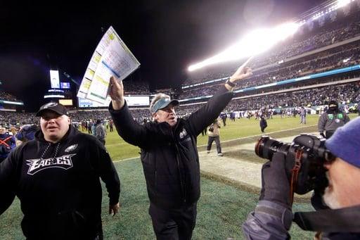 (AP Photo/Matt Rourke). Philadelphia Eagles head coach Doug Pederson celebrates after an NFL divisional playoff football game against the Atlanta Falcons, Saturday, Jan. 13, 2018, in Philadelphia. Philadelphia won 15-10.