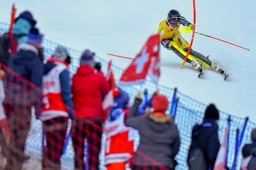 (Anthony Anex/Keystone via AP). Andre Myhrer of Sweden, cpmpetes during the first run of the men's slalom race at the Alpine Skiing FIS Ski World Cup in Wengen, Switzerland, Sunday, Jan. 14, 2018.