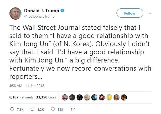 President Donald Trump is disputing a quote attributed to him during a newspaper interview about relations with North Korea's leader. (Source: Twitter @realDonaldTrump)