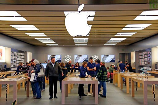 (AP Photo/Gene J. Puskar). This Wednesday, Feb. 8, 2017, photo shows an Apple store in Pittsburgh. Apple Inc. reports earnings Thursday, Feb. 1, 2018.