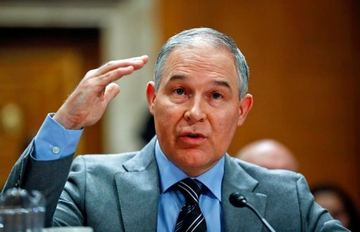 (AP Photo/Pablo Martinez Monsivais). In this Jan. 30, 2018, photo, Environmental Protection Agency administrator Scott Pruitt testifies before the Senate Environment Committee on Capitol Hill in Washington. Newly released emails show Pruitt personally ...