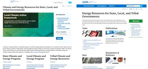 (EPA via AP). These images from the EPA's webpage on Climate and Energy Resources for State, Local, and Tribal Governments as it appeared April 13. 2017, left, and as it appeared on Feb. 1, 2018. Newly released emails show EPA Administrator Scott Pruit...