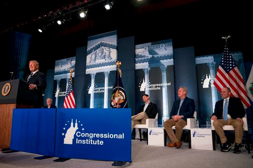 (AP Photo/Andrew Harnik). President Donald Trump, accompanied by from left, Senate Majority Leader Mitch McConnell of Ky., House Speaker Paul Ryan of Wis., House Majority Leader Kevin McCarthy of Calif., and House Majority Whip Steve Scalise, R-La., sp...