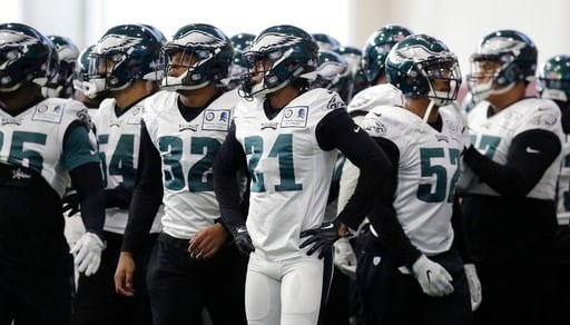 (AP Photo/Eric Gay, File). FILE - In this Thursday, Feb. 1, 2018, file photo, Philadelphia Eagles cornerback Patrick Robinson (21) and teammates break a huddle during a practice for the NFL Super Bowl 52 football game in Minneapolis. Philadelphia is sc...