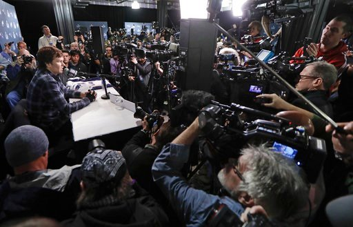 (AP Photo/Mark Humphrey, File). FILE - In this Thursday, Feb. 1, 2018, file photo, with cameras covering multiple angles, New England Patriots quarterback Tom Brady answers questions during a news conference in Minneapolis. The Patriots are scheduled t...