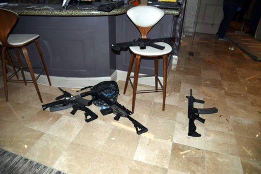 (Las Vegas Metropolitan Police Department via AP, File). FILE - This October, 2017 file photo released by the Las Vegas Metropolitan Police Department Force Investigation Team Report shows the kitchenette in the hotel room of the Las Vegas gunman.